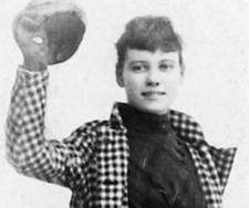 Nellie Bly in her checked coat going Around the World in 72 Days
