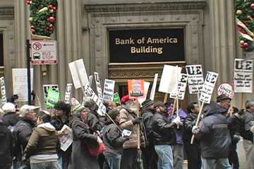 Protest at Bank of America Center in Chicago on Dec. 10, 2008