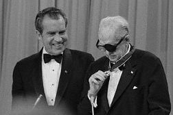 John Ford receives the Presidential Medal of Freedom from Richard Nixon